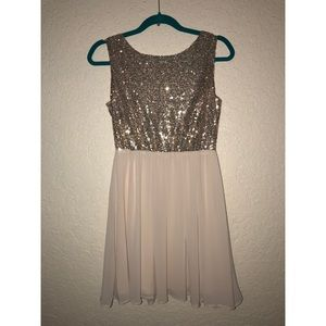 Dresses & Skirts - Cream and gold sequin dress Sz M